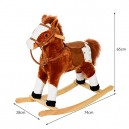 HOMCOM Children Child Kids Plush Rocking Horse with Sound Handle Grip Traditional Toy Fun Gift Brand New (Brown)