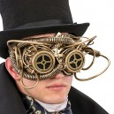Carnival Toys 1765 Steampunk Half Face Mask, Gold, One Size