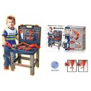deAO Workshop and Tools Carrycase Playset Mechanic Work Bench with Fold Up Design Includes Multiple Accessories and Electric Dri
