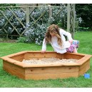 Garden Games 1.5 Meter Hexagonal Wooden Sandpit with Weatherproof Cover and Underlay