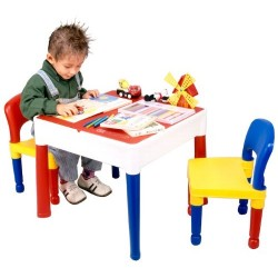 5 in 1 Activity Table & Chairs with Writing Top/Lego/Sand/Water/Storage