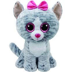 TY 36838Kiki Cat Plush Toy with Glitter Eye Glubschi's Beanie Boo's, 42cm, Grey