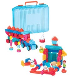 Bristle Block 113 piece Deluxe builder case with family and animal figurines