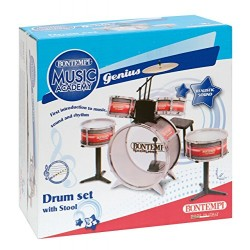 Bontempi 51 4830 Metallic Silver Drum Set with Stool (6