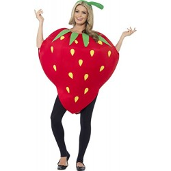Smiffy's Adult Unisex Strawberry Costume, Printed Tabard and Headpiece, Funny Side, Serious Fun, One Size, 43406