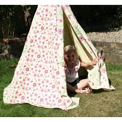 Garden Games Limited Girl's Flower Butterfly Wigwam Play Tent Teepee with Wooden Frame and Cotton Canvas Pink
