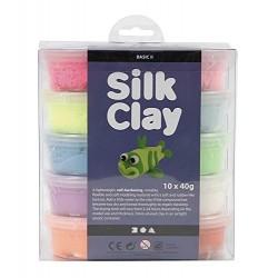 Creativ 10 x 40 g Silk Clay Assorted Colours Basic 1