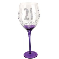 Boxer Tallulah Hand Decorated Clear Wine Glass with Gift Box, Age 21
