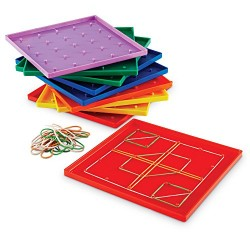 Learning Resources 5x5 Pin Geoboard (Set of 10)