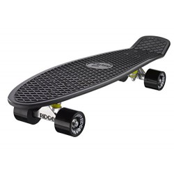 Ridge Mini Cruiser Unisex Street Skateboard Black/Black, 27 inch plastic frame, 7 speed slightly more stable abec
