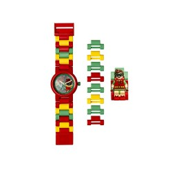 DC Comics Lego Batman Movie Robin Kids Minifigure Link Buildable Watch | Red/Green | Plastic | 28Mm Case Diameter| Analogue Quar