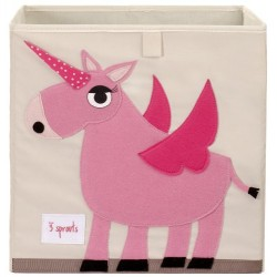 3 sprouts Storage Box, Pink Unicorn