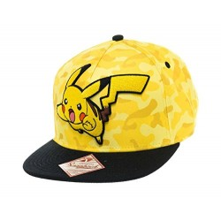 POKEMON Unisex Pikachu Camo Flat Cap, Yellow, One Size