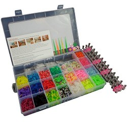 6000 DIY SET Mixed Colour Rainbow Rubber Loom Bands Bracelet Making Kit S