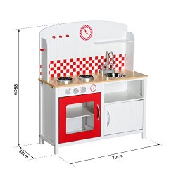 HOMCOM Kids Wooden Large Kitchen Role Play Set Learning Toy (White, Red)