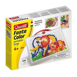 Quercetti Fantacolor Portable Peg Set (Large, 270 Pieces)