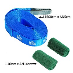HOMCOM Slackline Set Balance Training w/ Tree Protection Safety Rope 15m Blue