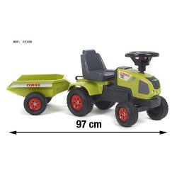 Falk 1012B Child's Vehicle Claas Axos Tractor with Trailer