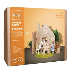 GIGI Bloks Big Interlocking Cardboard Building Blocks (96 Blocks)