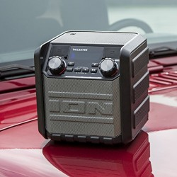 ION Audio Tailgater Go Waterproof Compact Wireless Portable Outdoor Bluetooth Speaker System with Built