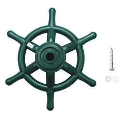HIKS Green Toy Pirate Ship Steering Wheel 35cm, Ideal For Kids Childrens Climbing Frame, Tree House & Play House (Also Available