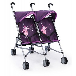 Bayer 69cm Dolls Buggy Twin Fairy Design (Purple)