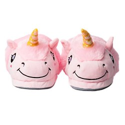 Cute Soft Plush Unicorn Slippers Fleece House Shoes for Winter, Plush Lounge Footwear, Closed Back