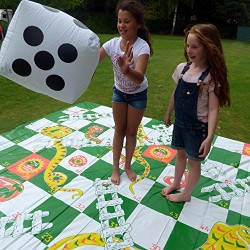 Garden Games Giant Snakes and Ladders Game 3 Metres x 3 Metres PVC Durable Mat and 2 Inflatable Dice
