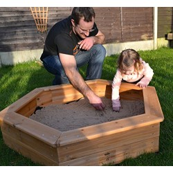Garden Games 6403 Wooden Childrens Hexagonal Sandpit with Underlay and Sand Pit Cover 1.2 Metre