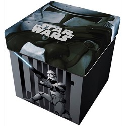 Star Licensing Disney Lucas Star Wars Storage Stool with Cushion, Polyester, multicoloured, 32 x 32 x 32 cm
