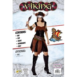 Bristol Novelty AC883 Viking Lady Costume, Brown, Size 10