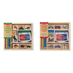 Melissa & Doug Dinosaur Stamp Set & Vehicle Stamp Set Bundle