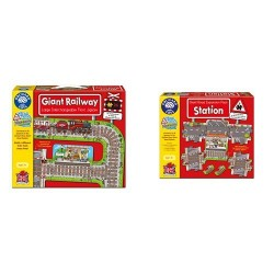 Orchard Toys Giant Railway Jigsaw Puzzle with Stations Road Puzzle Expansion Pack Bundle