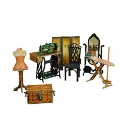 Keranova Keranova269 12.5 x 2 x 11.5 cm Clever Paper Doll House and Furniture Collection Sewing 3D Puzzle