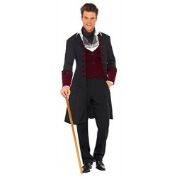 Fever Adult men's Gothic Vamp Costume, Coat, Mock Waistcoat and Cravat, Halloween, Size M, 21323