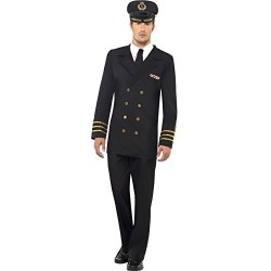 Smiffy's Adult men's Navy Officer Costume, Jacket, trousers, Mock Shirt and Hat, Troops, Serious Fun, Size L, 38818