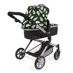 Bayer Design 18148AA Doll's Pram City Neo with Changing Bag and underneath shopping basket, convertable to a pushchair Black/Gre