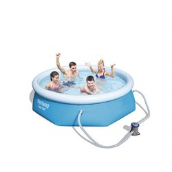Bestway Fast Set 8' x 26 /2.44M x 66cm Pool Set Swimming Pool, 2300 Liters, Blue, 244x244x66 cm