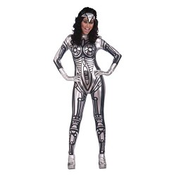 Bristol Novelty AC286 Robot Female Jumpsuit, Black, Size 10