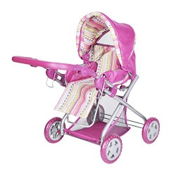 Knorr Toys Knorr61838 Combi Kyra Pink Stripes Dolls Pram and Buggy