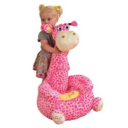 Liberty House Toys Plush Giraffe Animal Seat, Fabric, Pink