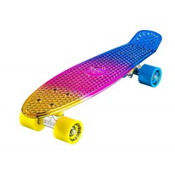 Ridge Skateboards Unisex Neochrome Mini Cruiser Complete Skateboard, Yellow/Pink/Blue, 22