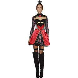 Fever Adult Women's Queen Of Hearts Costume, Dress, Attached Underskirt and Mini Crown, Once Upon a Time, Size M, 43479