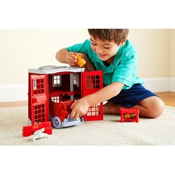 Green Toys Fire Station, Fire Truck and Mini Figures Playset