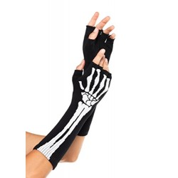 Leg Avenue One Size Black/White Skeleton Fingerless Gloves
