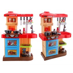 deAO Toddler Kitchen Playset My Little Chef With 30 Accessories Role Playing Game in RED