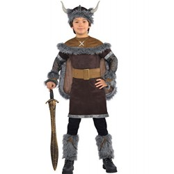 Viking Warrior and Helmet Boys Fancy Dress Medieval Book Week Kids Childs Costume