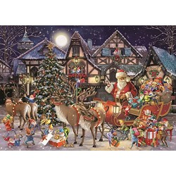 Falcon de luxe 11182 Santa's Christmas Helpers Jigsaw Puzzles in One Box, 2 x 1000