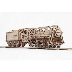 Ugears 70012 – Locomotive with Tender, 3D Wood Kit without glue