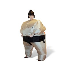 Giggle Beaver Inflatable Sumo Costume Wrestling Fat Suit Halloween Fancy Dress Blow Up Funny Novelty Cosplay
